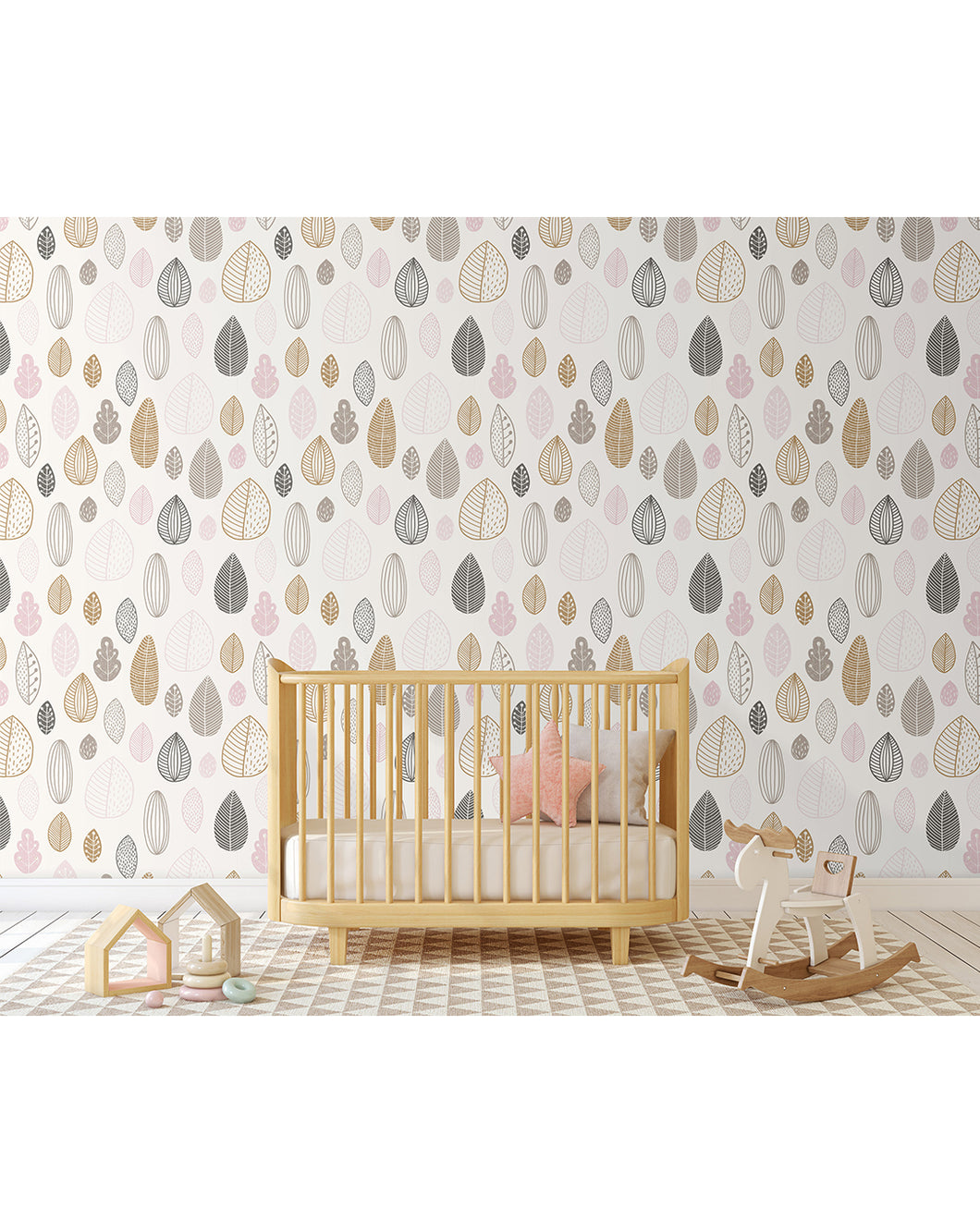 Self Adhesive Minimalistic Leaves Removable Wallpaper For Kids Room Costacover