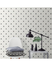Self Adhesive Vinyl Geometric Black and Beige Minimalistic Triangle Design Removable Water Resistant Matte Wallpaper CC007