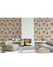 Floral Accent Peel and Stick Removable Wallpaper with Retro Style Botanical Wall Design Roses and Anemone Flowers Self Adhesive Vinyl CC137