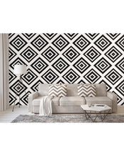 Self Adhesive Pixel Art Removable Wallpaper Decorative Ethnic Wall Covering Mural for Interior Black & White Tribal Ornament CC033