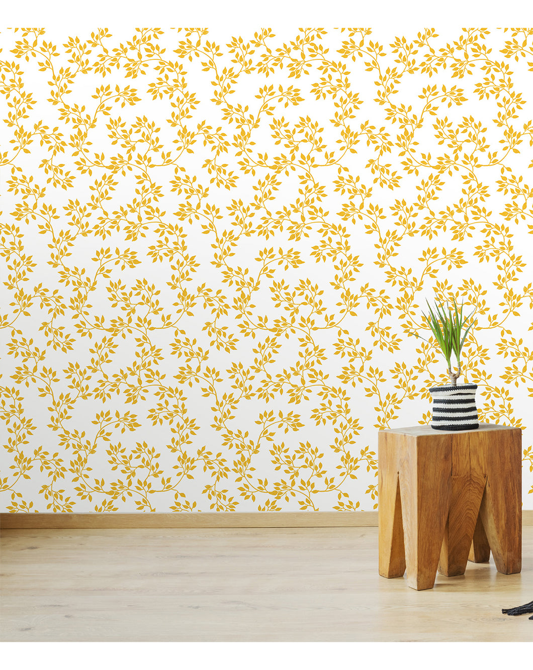 Temporary Self Adhesive Luxury Gold Color Leaves Removable Wallpaper ...