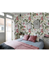 Self Adhesive Floral Hibiscus and Greenery Removable Wallpaper CC002