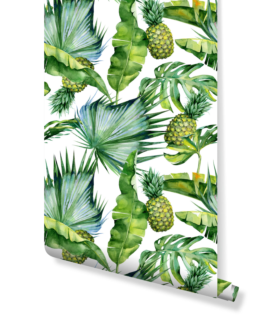 Self Adhesive Removable Wallpaper with Tropical Palm Leaves and Pineapple Jungle Theme Vinyl Wall Decal CC044