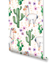 Temporary self adhesive removable wallpaper watercolor cactus flowers and lamas floral whimsical hand painted nature illustration CC046