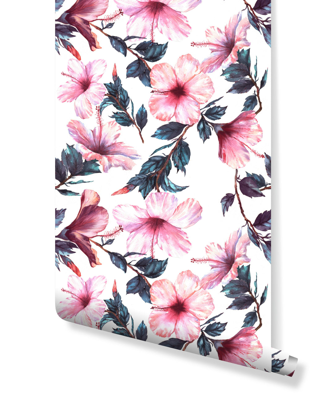 Temporary Removable Wallpaper Large Hibiscus Peel and Stick Floral Wall Mural Self Adhesive Wall Paper with Pink Flowers Accent CC054