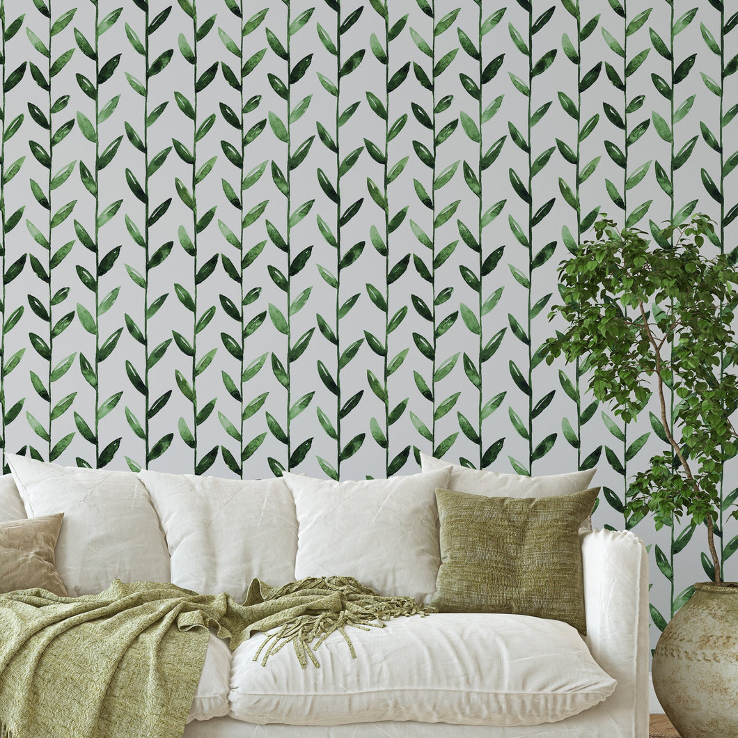 Self Adhesive Green Leaves Floral Botanical Removable Wallpaper CC003