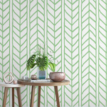 Accent Wall Removable Wallpaper for Renters Weaving Braids Chevron Illustration Green and White Temporary Stick and Peel Wall Paper CC130