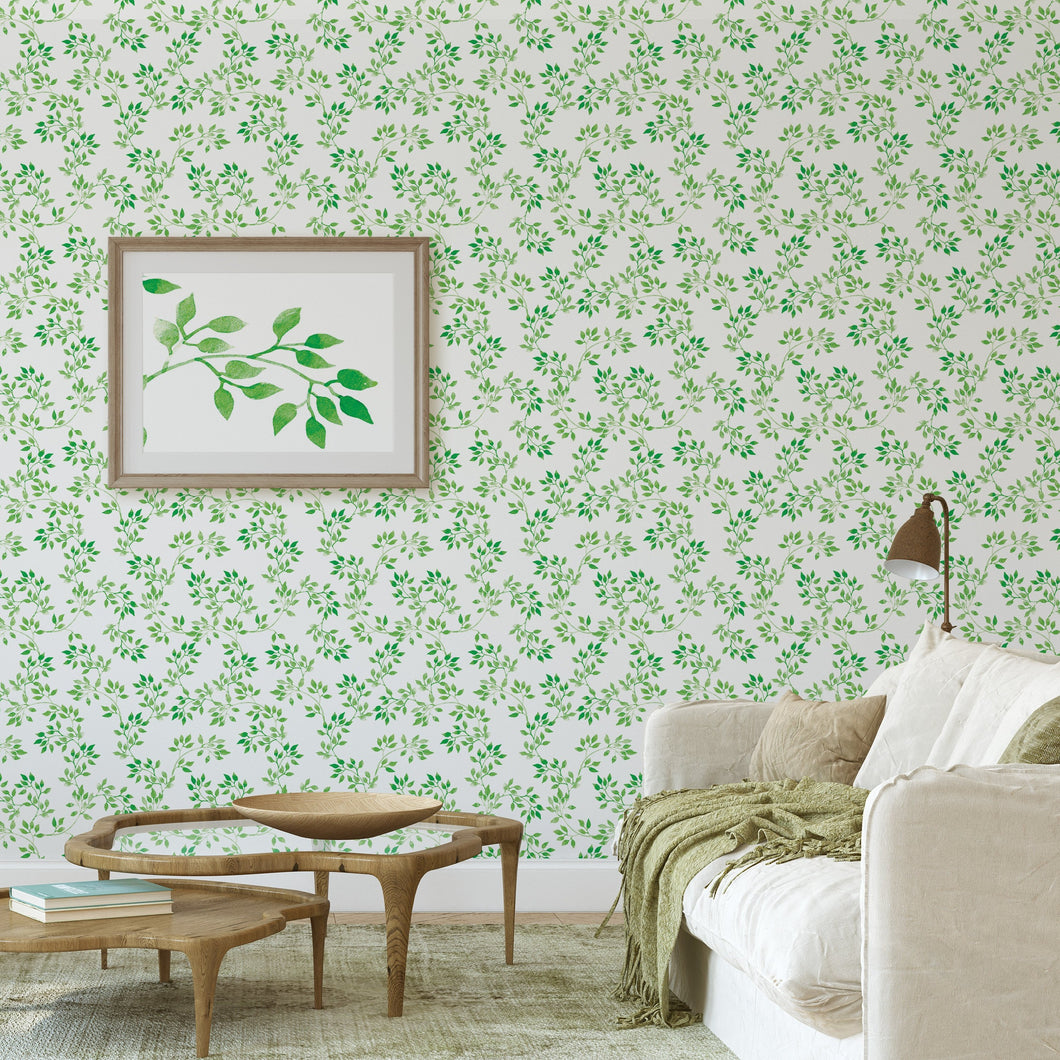 Self Adhesive Green Blooming Spring Leaves Removable Wallpaper CC017