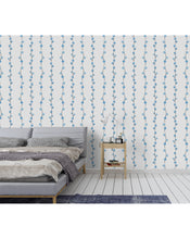 Self Adhesive Minimalistic Blue Cotton Branch Removable Wallpaper CC023