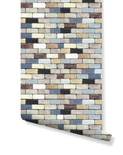 Self Adhesive Colorful Brick Wall Backdrop Removable Wallpaper, Peel and Stick Wall Accent, Abstract Wall Decor Traditional Wallpapers