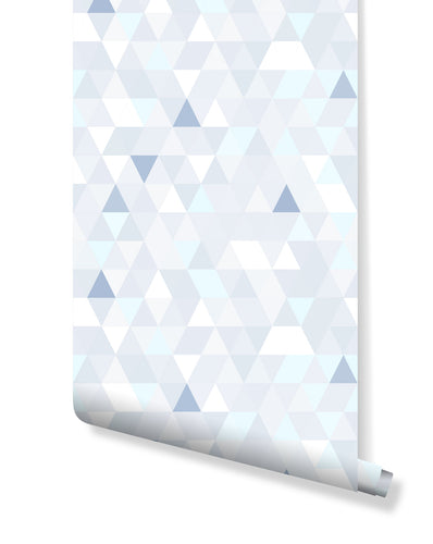 Geometric peel and stick removable temporary wallpaper vinyl with blue and white triangles self adhesive wall mural CC040