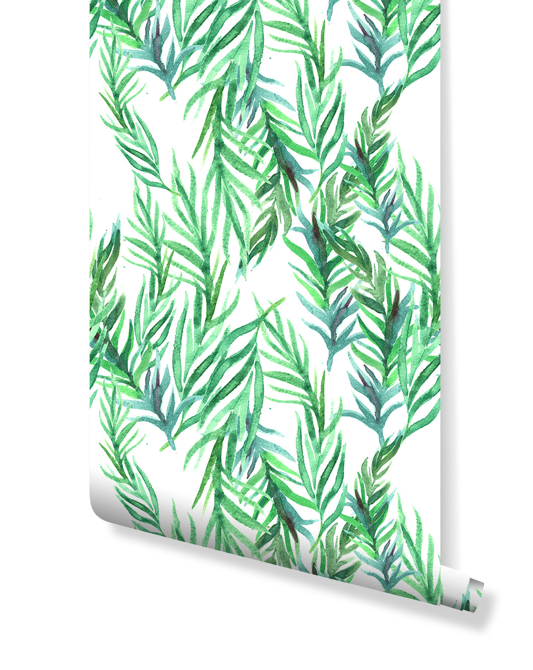 Watercolor Green Leaves Removable Wallpaper Floral Tropic Botanical illustration Self Adhesive Peel and Stick Jungle Interior  CC057