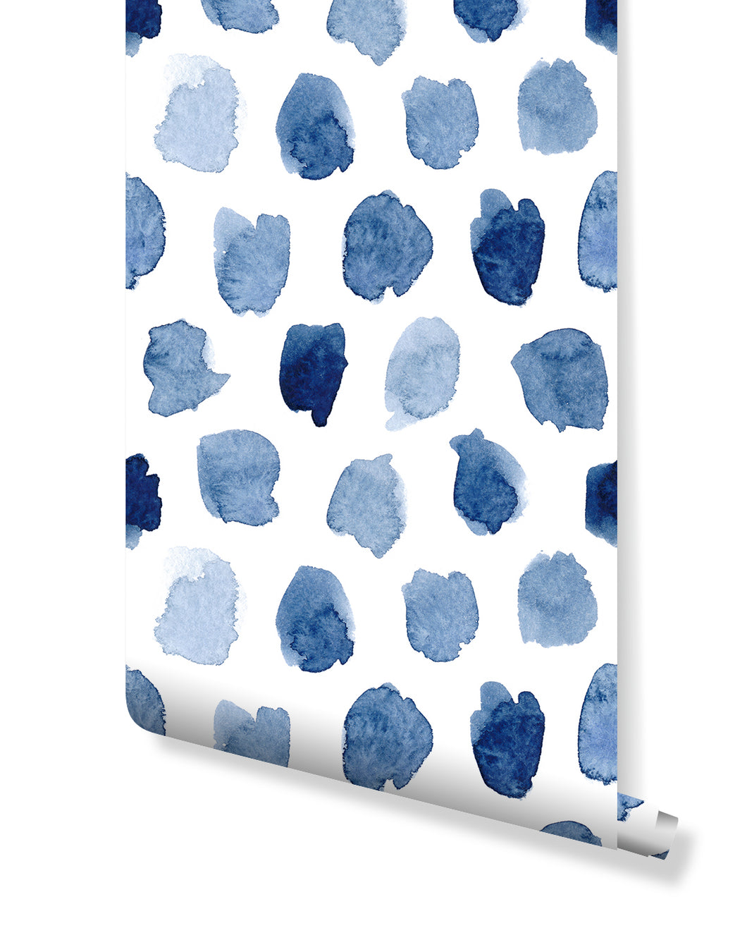 Self Adhesive Blue Watercolor Spots Removable Wallpaper CC088