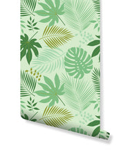 Removable Wallpaper with Fresh Green Tropical Leaves Jungle illustration self adhesive wallpaper - peel and stick wallpaper CC092