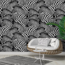 Self Adhesive Black and White Zebras Removable Wallpaper CC095