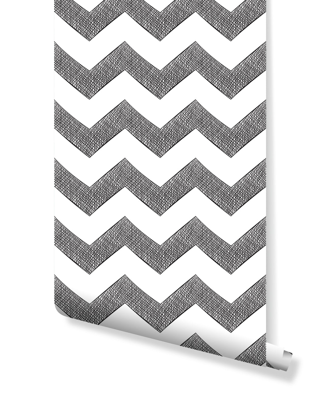 Removable Temporary Wallpaper Classic Hand Drawn Chevron Black and White Zigzag Self Adhesive Vinyl Peel and Stick application CC097