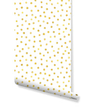 Self adhesive removable wallpaper with hand drawn gold polka dots peel and stick wall vinyl CC099