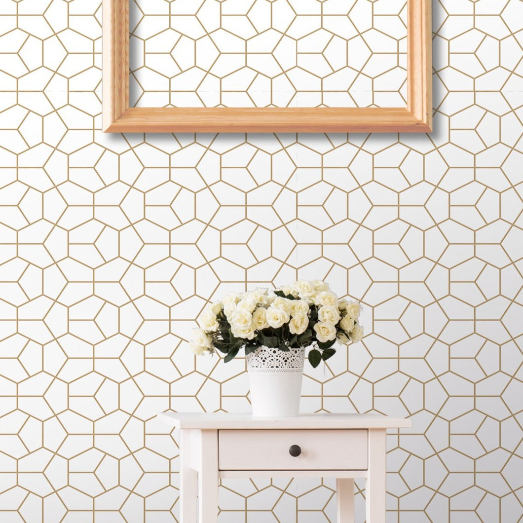 Self Adhesive Abstract Geometry Gold Hexagon Removable Wallpaper CC102