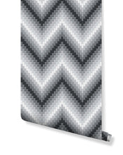Self Adhesive Removable Wallpaper Black and White Dimensional Herringbone Pixel Art Wall Mural CC104