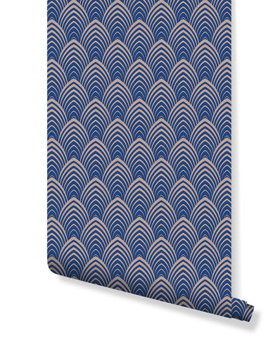 Temporary Removable Art Deco Wallpaper with Geometric Classic Lines on Blue Background Self Adhesive Wall Decor CC121 Active
