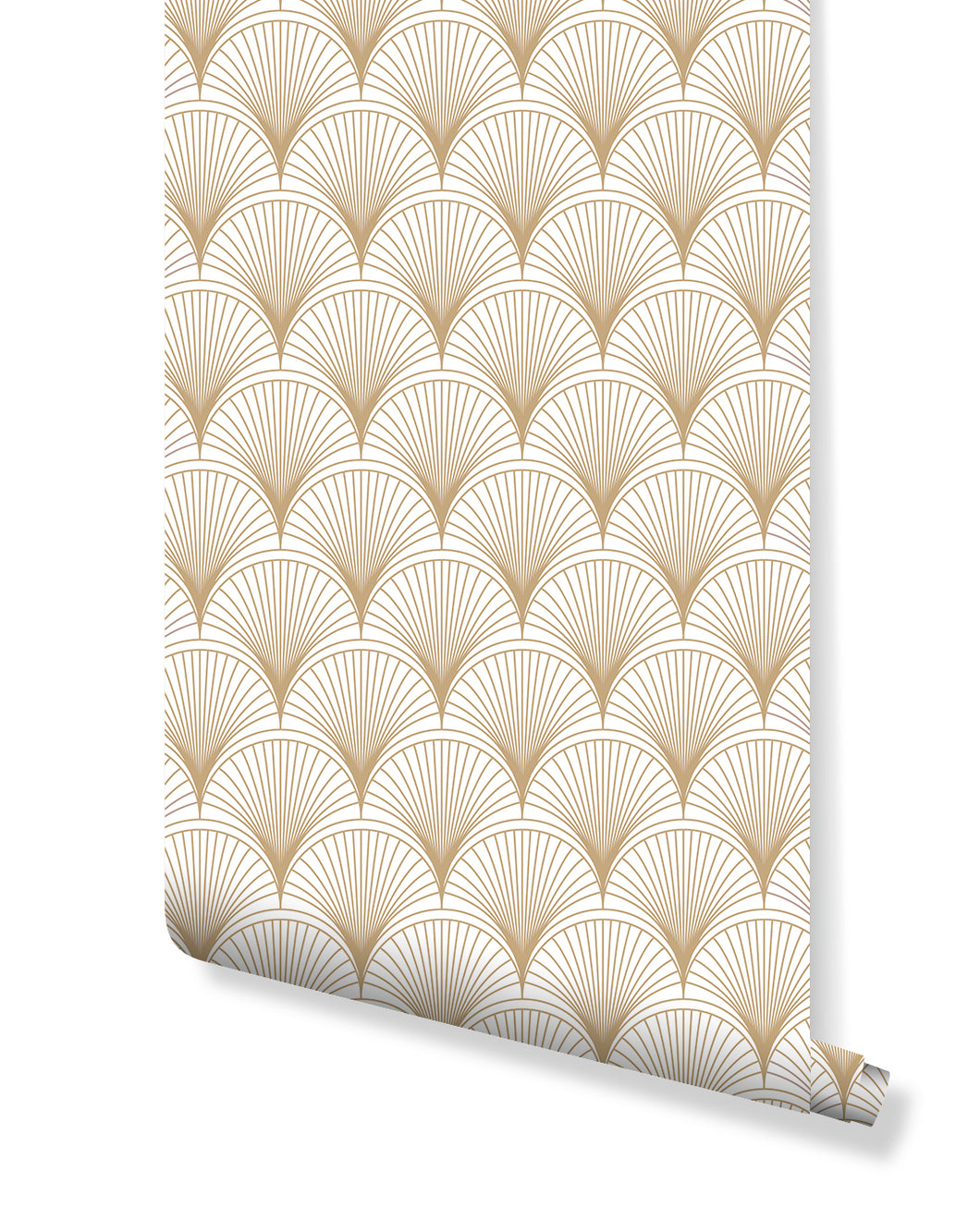 Temporary Wallpaper Art Deco Dark Gold Scalops Geometric Self Adhesive Removable Wall Paper with Luxury Design Custom Colors Available CC125