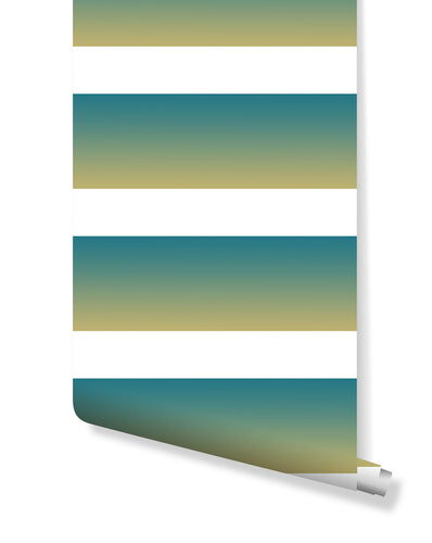 Temporary Sunset Color Ombre Horizontal Lines Removable Wallpaper | Cute Self Adhesive Stripe Wall Decor Custom Colors Available CC127