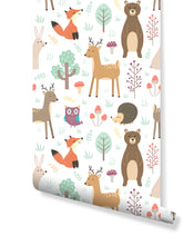 Forest Animals Removable Wallpaper Colorful Self Adhesive Accent Wall Paper for Nursery Kids Room Peel and Stick Woodland Critters CC135