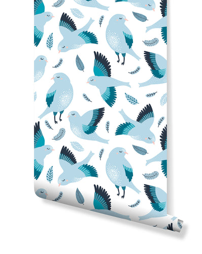 Nursery Removable Wallpaper with Blue Bird, Self Adhesive Kids Room Wall Paper Bluebird Wall Decor, Peel and Stick application CC0141