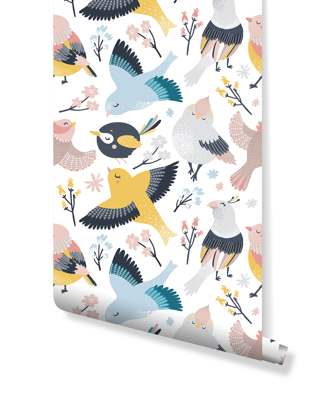 Cute Birds Removable Wallpaper for Nursery and Kids Room, Self Adhesive Wall Paper Wall Decor with Colorful small Birds CC142