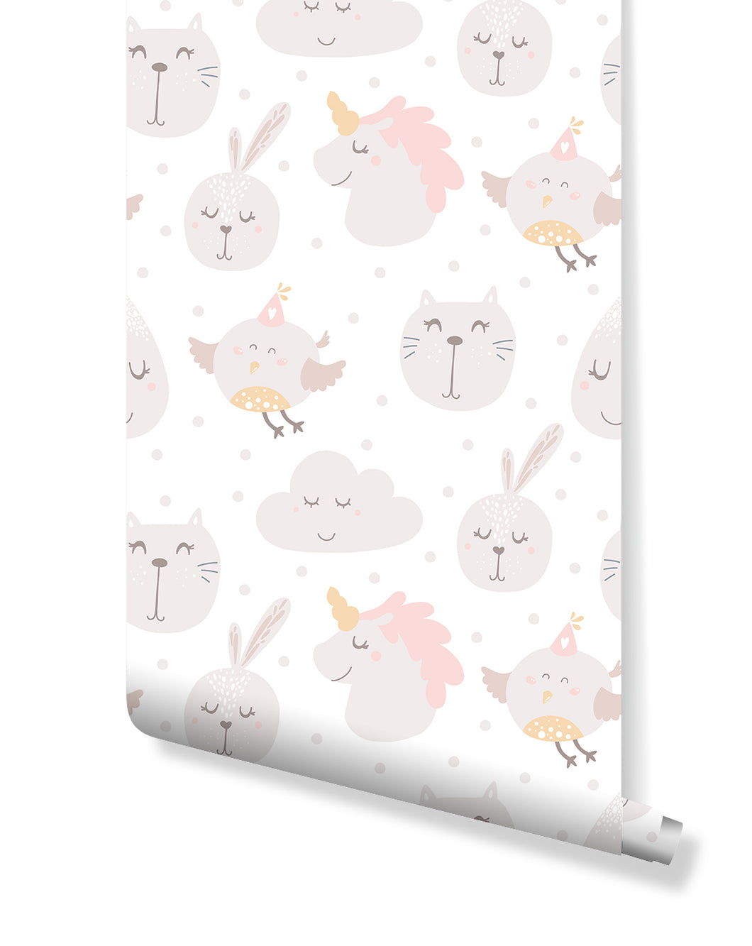 Pastel Color Kids Room Removable Wallpaper with Unicorns Birds Rabbits and Cats, Self Adhesive Wall Decor with Lovely Animals CC144