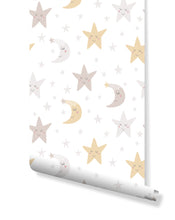 Dreamy Night Nursery Removable Wallpaper, Self Adhesive Night Sky Wall Decor for Kids Room, Peel and Stick Wall Paper Application CC145
