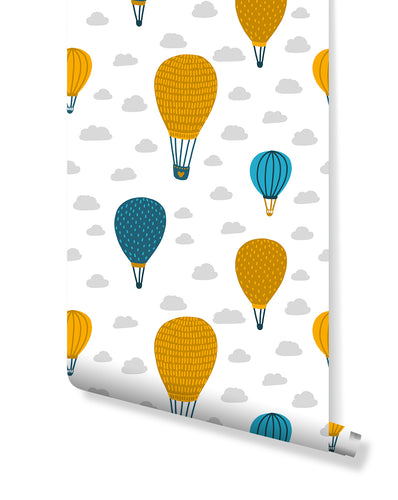 Peel and Stick Kids Room Removable Wallpaper with Colorful Air Balloons, Self Adhesive Scandinavian Design Wall Paper Vinyl CC146