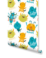 Colorful Lovely Monster for Kids Room Removable Wallpaper, Self Adhesive Wall Paper Vinyl for Kids Playroom, Bedroom, Bathroom CC147