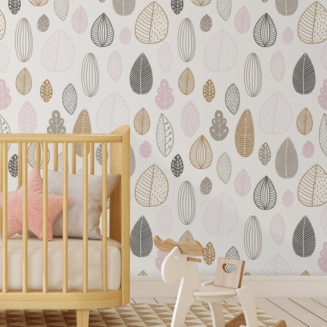Self Adhesive Minimalistic Geometric Leaves Removable Wallpaper CC150