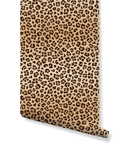 Leopard Print Spots Removable Wallpaper, Self Adhesive Wall Paper Vinyl with Animal Pattern, Peel and Stick Application CC151
