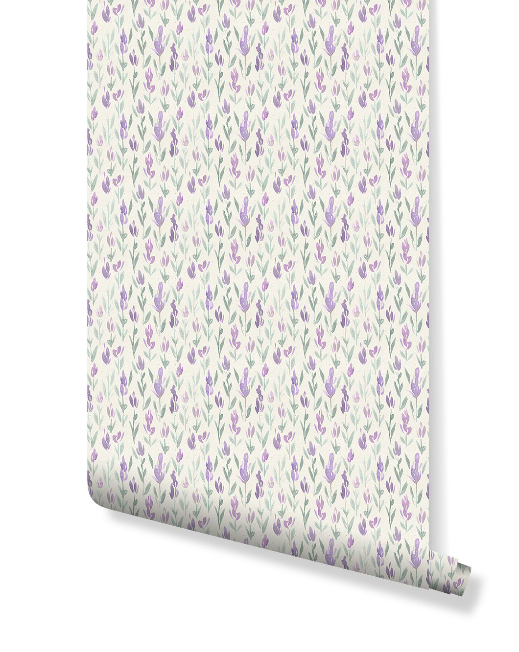 Watercolor Lavender Removable Wallpaper Vinyl, Self Adhesive Floral Wall Paper with Paper Texture Background Peel and Stick Aplication CC153