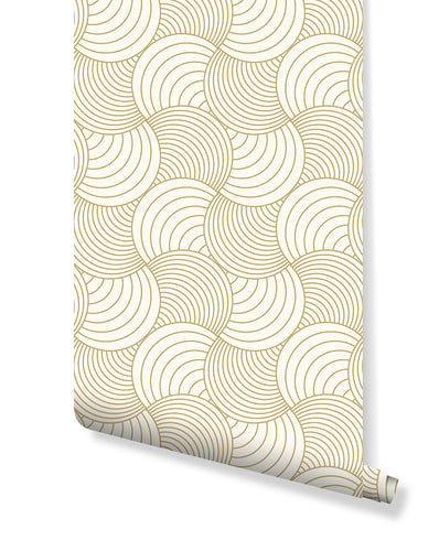 Abstract Gold Stripe Wave Removable Wallpaper, Self Adhesive Geometric Wall Paper Vinyl, Peel and Stick Beige Wall Mural CC157