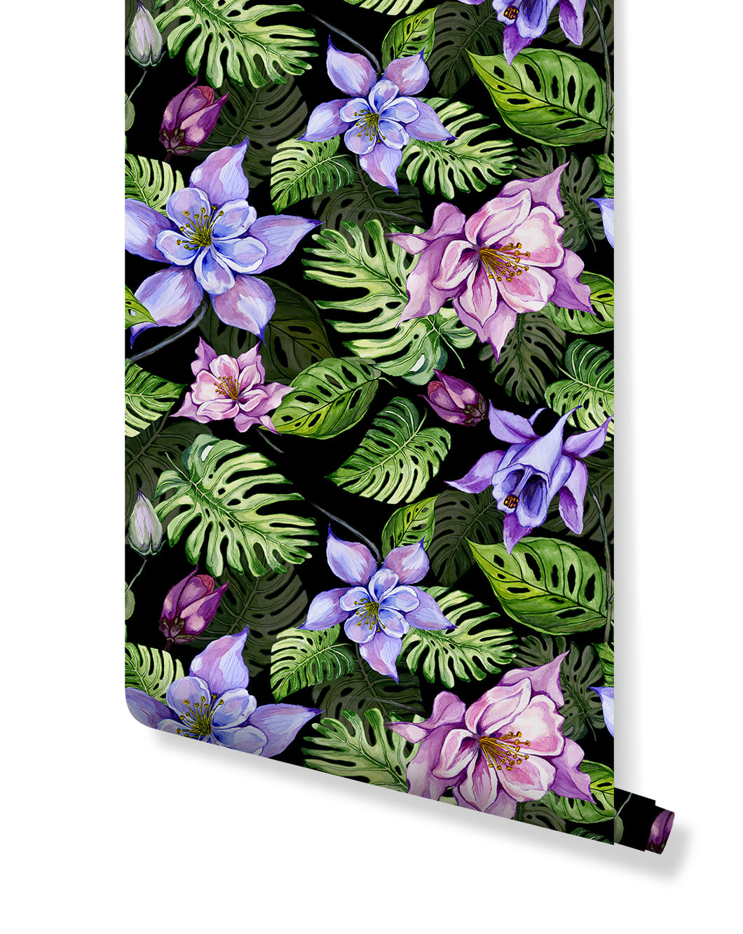 Tropical floral temporary removable wallpaper, self adhesive wall paper vinyl, watercolor exotic monstera leaves and columbine flowers CC160