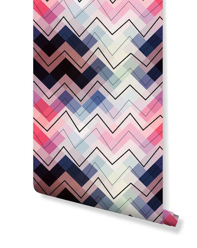 Self Adhesive Colorful Chevron Pattern Removable Wallpaper CC161