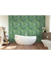 Temporary Self Adhesive Removable Wallpaper with Watercolor Green Tropical Palm Leaves, Great for Home Improvement Wall Decor CC162