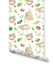 Temporary Baby Animals Sloth Removable Wallpaper, self Adhesive Wall Decor for Kids with Watercolor Tropical Design Cute Palm Tree Leaves Self Adhesive Vinyl CC163
