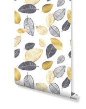 Self Adhesive Temporary Removable Wallpaper with Scandinavian Style Hand Drawn Gold and Dark Leaves, Minimalistic Floral Art, Great for Home Improvement Wall Decor CC164