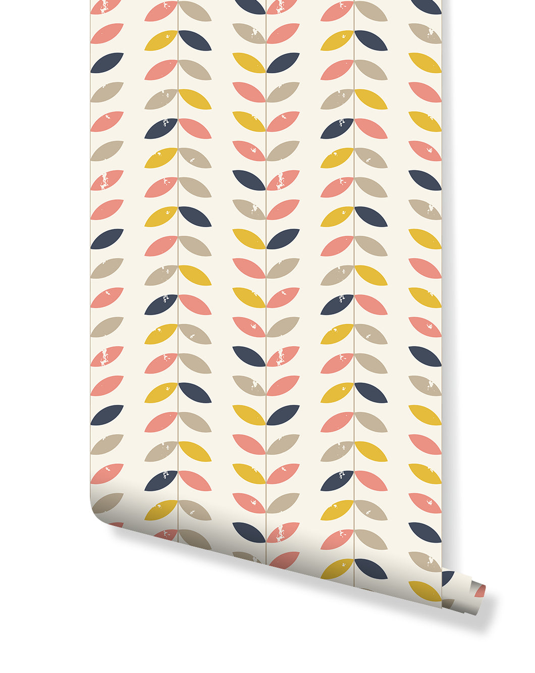 Self Adhesive Removable Wallpaper with Retro Style Twigs and Leaves in Pastel Colors, Geometric Chevron Style Wall Paper Great for Home Improvement Wall Decor CC166 …