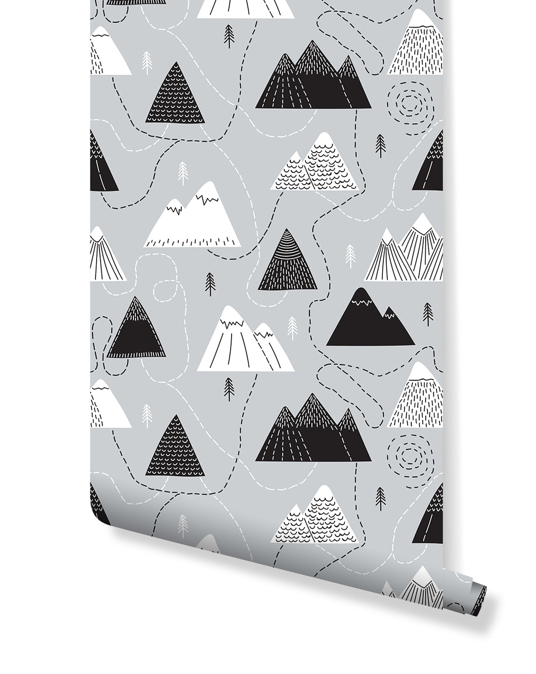 Scandinavian Style Self Adhesive Removable Wallpaper with Hand drawn Mountains and Routs, Temporary Black White and Gray Wall Decor CC172