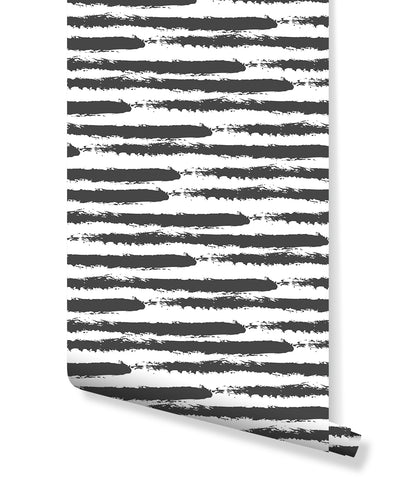 Self Adhesive Abstract Horizontal Brush Marks Removable Wallpaper CC174