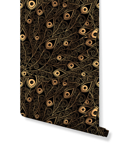 Self Adhesive Removable Wallpaper with Gold Black Peacock Feathers, Temporary Peel and Stick Wall Mural, Wall Decor for Home CC181