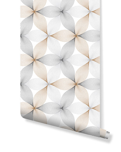 Geometric Floral Self Adhesive Removable Wallpaper, Repeating Linear Petal of Flower in Gold Black Gray Colors Wall Decor Wall Paper CC184