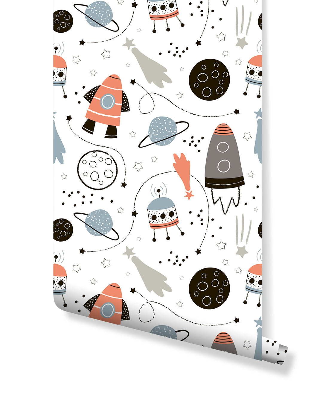 image 0  image 1  image 2  image 3  Request a custom order and have something made just for you.  This seller usually responds within 24 hours. Trendy Kids Room Self Adhesive Removable Wallpaper with Hand Drawn Space Elements, Space Rockets, Stars, Planets in Pastel Colors CC187