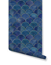 Self Adhesive Watercolor Dark Blue and Gold Mermaid Fish Scallops Removable Wallpaper, Peel and Stick Japanese Style Wall Decor CC190