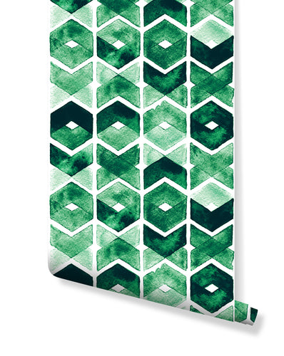 Temporary Self Adhesive Watercolor Green Chevron Removable Wallpaper, Peel and Stick Abstract Geometric Wall Decor Vinyl for Home CC191